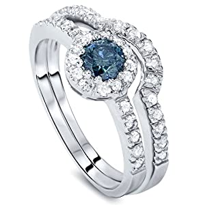 1.00CT Blue & White Diamond Engagement Ring Set 14K White Gold