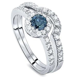 1.00CT Blue & White Diamond Engagement Ring Set 14K White Gold