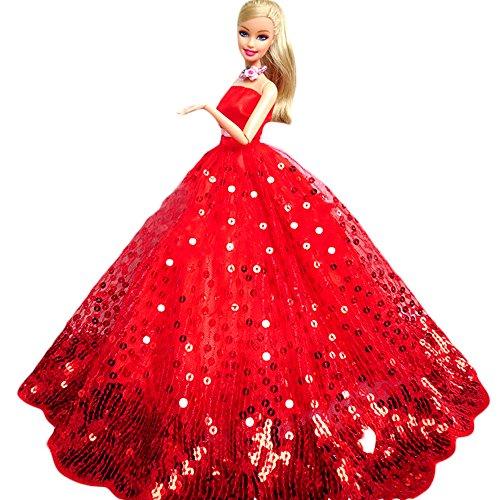 WayIn-El-vestido-de-partido-hecho-a-mano-magnfico-con-Lentejuelas-Diseado-para-adaptarse-a-la-mueca-Barbie-Rojo