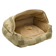 K&H Lounge Sleeper Hooded Pet Bed 20-Inch by 25-Inch Tan Patchwork