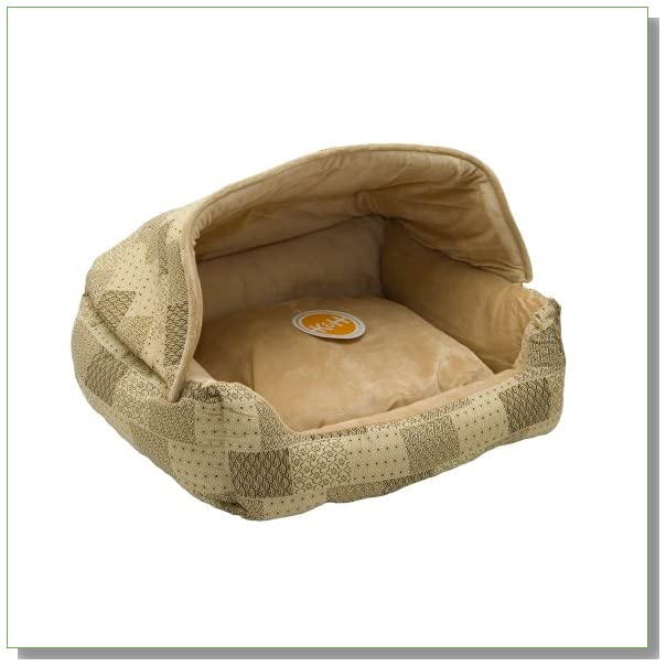 K&H Lounge Sleeper Hooded Pet Bed, 20-Inch by 25-Inch, Tan Patchwork