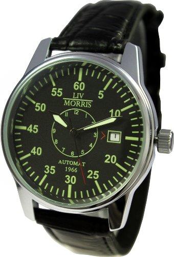 LIV MORRIS Automatik Herrenuhr 1966 Lübeck, mechanische Armbanduhr, SeaGull Uhrwerk, automatischer Aufzug, Edelstahl-Glasboden, lumineszierende Zeiger und Indices, echtes Lederarmband, von LIV MORRIS
