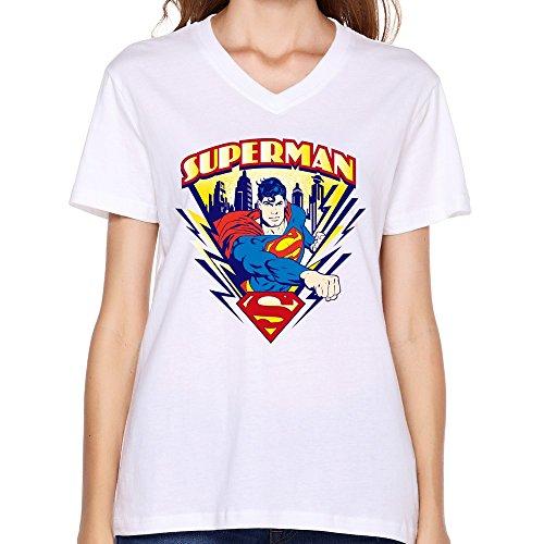 ZhaoHui Cheap No Minimum Personalized Women Superman V-neck T-shirts
