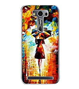 Girl with Umbrella Painting 2D Hard Polycarbonate Designer Back Case Cover for Asus Zenfone 2 Laser ZE500KL (5 INCHES)