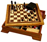 51iHup6r3kL. SL160  7 in 1 Wood game set including Chess, Checkers, Backgammon, Dominoes, Cribbage and more