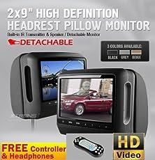 "buy Black Pair 9"" High Resolution Digital Screen Detachable Headrest Dvd Player Monitors Games And Wireless Headphones + Cigarette Adapters"