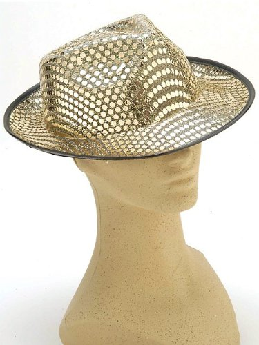 Adult Gold Sequin Fedora Hat