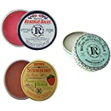 Rosebud Perfume Co. Tin 3 Pack: Smith's Rosebud Salve + Smith's Strawberry Lip Balm + Smith's Menthol and Eucalyptus Balm