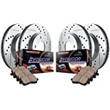 Power Stop K2006 Front/Rear Ceramic Brake Pad and Cross Drilled/Slotted Combo Rotor One-Click Brake Kit