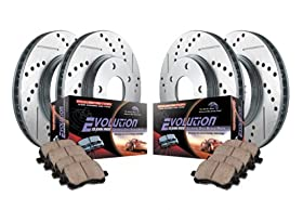 Power Stop K2015 Front/Rear Ceramic Brake Pad and Cross Drilled/Slotted Combo Rotor One-Click Brake Kit