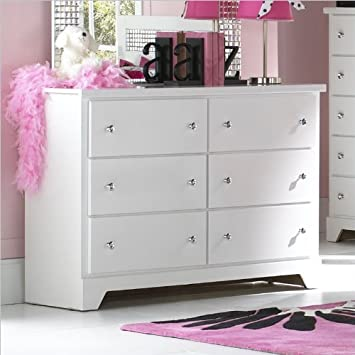 Standard Furniture Marilyn 6 Drawer Dresser in Glossy White