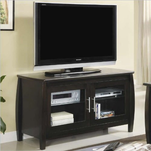 Coaster 700610 Contemporary TV Stand with Glass Doors, Cappuccino Finish photo