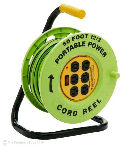 Designers Edge E-238 50-Foot Power Stations 12/3-Gauge Cord Reel with 6 Outlets