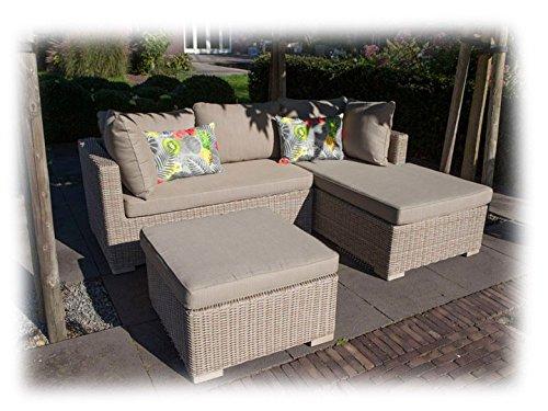 SIENNA Lounge Gartenmöbel Gartenset rechts 3-teilig Poly Rattan Sandgrau günstig online kaufen