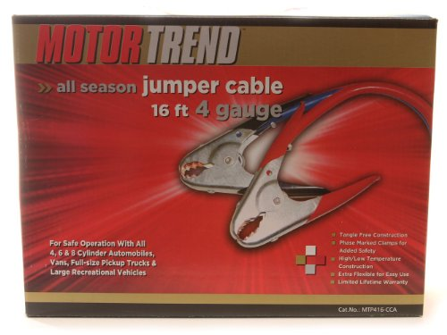 Motor Trend MTP416-CCA 16-Foot Jumper Cables with Parrot Clamps, 500-AMP