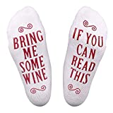 Loritta 1 Pair/3 Pairs Funny Socks IF You CAN Read This Bring Me Wine Coffee Novelty Cotton Socks Gift for Men Women