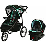 Graco Fast Action Jogger Travel System Tidalwave, Black/Turquoise, 1-Pack