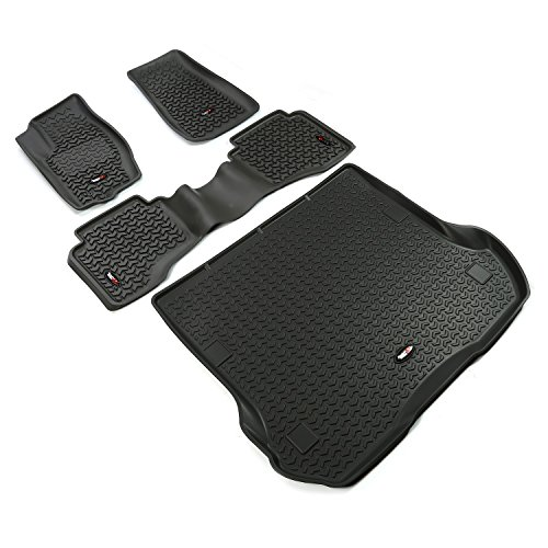 Find Discount Rugged Ridge 12988.33 Black All-Terrain Front and Rear Floor Liner Kit – 4 Pieces