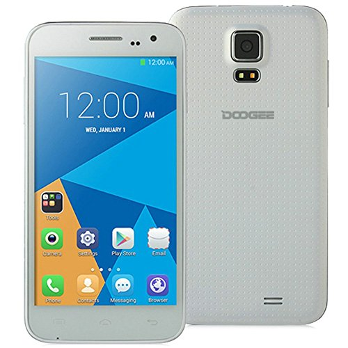 DOOGEE VOYAGER2 DG310 5″ IPS FWVGA Screen MTK6582 1.3GHz Quad core Quadband Dual SIM Dual Standby Anroid4.4 RAM 1G ROM 8G Cellphone Mobile Phone 3G Phone Smartphone with Smart Wake WiFi 5.0MP 13.0MP Camera GPS Bluetooth 4.0 (White)