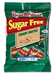 Russell Stover Sugar Free Peanut Brittle, 3-Ounce Peg Bags (Pack of 10)