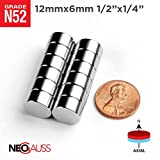 "10pcs N52 - 12mm x 6mm - 1/2"" x 1/4"" Strong Rare Earth Neodymium Magnets Discs - by NEOGAUSS"