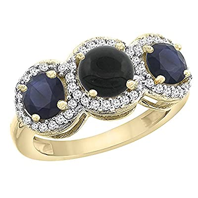 14K Yellow Gold Natural Black Onyx & High Quality Blue Sapphire Sides Round 3-stone Ring Diamond Accents, sizes 5 - 10