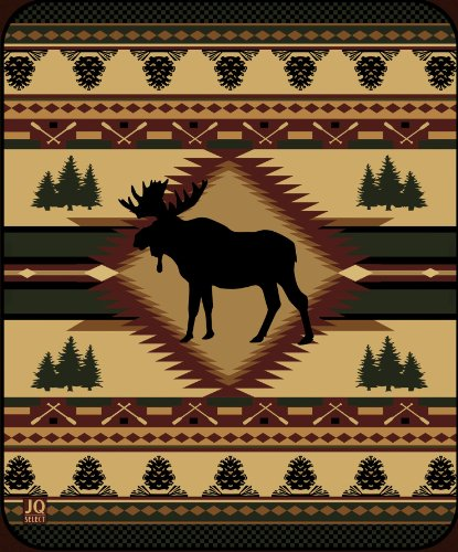 Moose Lodge High Quality Plush Raschel Queen Size Blanket front-118309