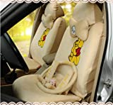 18pcs-winnie Pooh Cartoon Car Seat Covers -Universal Warm Car Seat Covers - Beige-car steering wheel cover-pillows