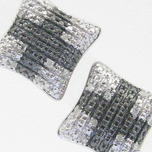 Mens 925 Sterling Silver earrings fancy stud hoops huggie ball fashion dangle black and white pave cross earrings2