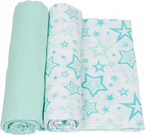 MiracleWare Muslin Swaddle Blanket, Aqua Stars, 2 Piece