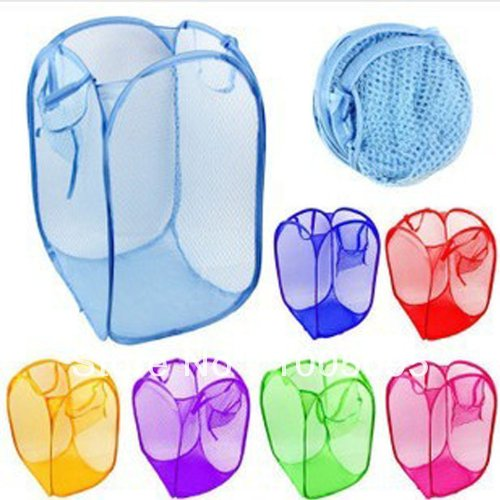 1pcs Reinforced nylon mesh laundry basket / laundry basket for clothes airing basket can be folded hamper