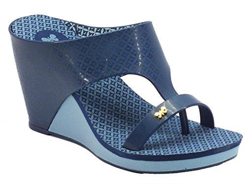 Infradito Glamour per donna Zaxy in caucciù blu zeppa alta (Taglia 40)