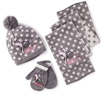 Disney Minnie Mouse Girls Hat, Scarf and Mittens Set Light Grey Melange 6 Months