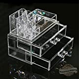 Makeup Cosmetics Organizer Clear Acrylic Drawers Display Box Storage Tabletop