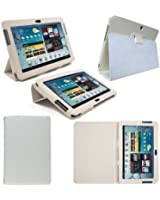 Etui Housse Luxe Blanc pour Samsung Galaxy Note 10.1 N8000 + Stylet Gratuit