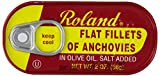 Roland Anchovies Fillets, Flat in Olive Oil, 2 Ounce (Pack of 25)