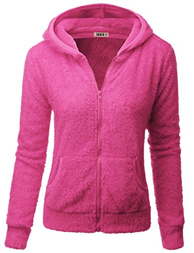 Doublju Womens Easy to Wear Poly 3/4 Sleeve Plus Size Hooded Fleece Outer PINK,3XL
