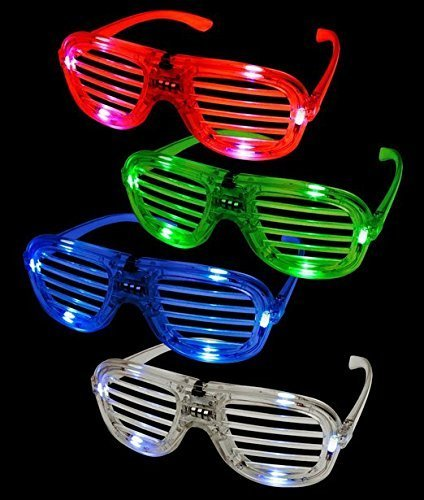 12ct LED Light Up Slotted Shades Sunglasses - Assorted Flashing Lights
