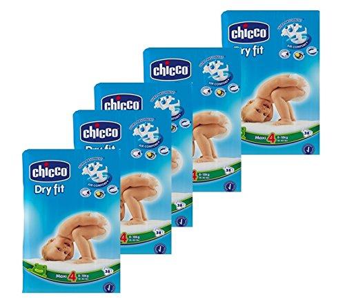 Chicco Dry Fit, 190 Pannolini, Taglia 4 (8-18 kg), 5 confezioni da 38