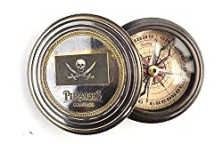 Antique brass reproduction Pirates compass with Robert fort poem