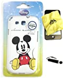 Bukit Cell ® Samsung Galaxy S3 III i9300 DISNEY Bundle - 3 Items: Licensed Original DISNEY Classic Mickey Mouse TPU SKIN Protector Case Cover, Bukit Cell ® Cleaning Cloth and Metallic Stylus Touch Pen with Anti Dust Plug
