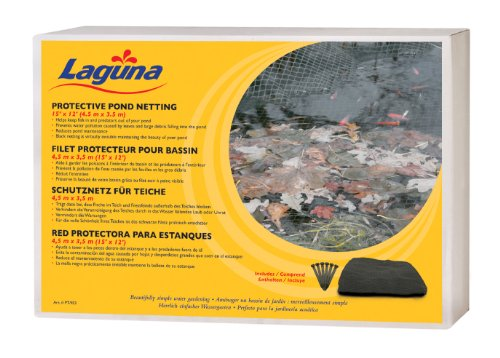 Laguna 15 Feet x 12 Feet Pond Netting with Placement Stakes, Black