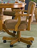 Arm Chair with Casters Tan Fabric Oak Finish