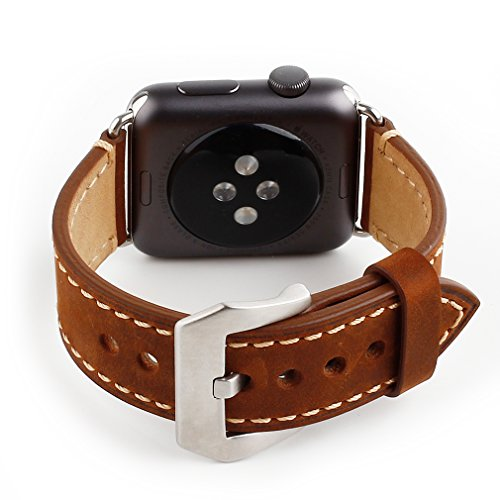 Apple Watch Band, 42mm iWatch Strap Premium Vintage Crazy Horse Genuine Leather Replacement Watchband with Stainless Metal Clasp for All Apple Watch Sport Edition (42mm Brown) 2