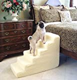 Pet Stairs Petstairz 6 Step High Density Foam Pet Step and Pet Stair with Beige Removable and Washable High Curly Pile Shearling Cover for Pets up to 50 Lbs.