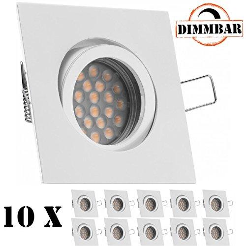 10er LED Einbaustrahler Set Weiß / Weiss mit LED GU10 Markenstrahler von LEDANDO – 5W DIMMBAR – schwenkbar – warmweiss – 60° Abstrahlwinkel – A+ – 50W Ersatz – LED Einbauleuchte 5 Watt – eckig / quadratisch