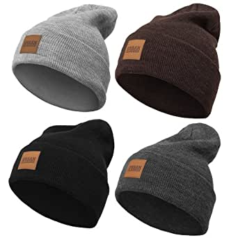 Urban Classics Lederpatch Long Beanie, viele Farben (one size, heatherbrown)