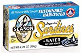 Season No Salt Added Sardines in Water, 4.375 Ounce (Pack of 12)