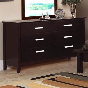 Contemporary Style Cappuccino Finish Storage Dresser
