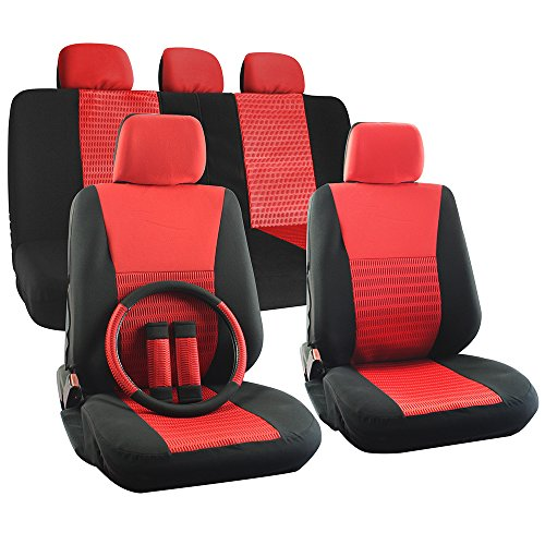 OxGord 17pc Set Flat Cloth Mesh Red & Black Wide Stripe Seat Covers Set - Airbag Compatible - Front Low Back Buckets - 50/50 or 60/40 Rear Split Bench - 5 Head Rests - Universal Fit for Car, Truck, Suv, or Van - FREE Steering Wheel Cover (2014 Dodge Ram Wheel Covers compare prices)